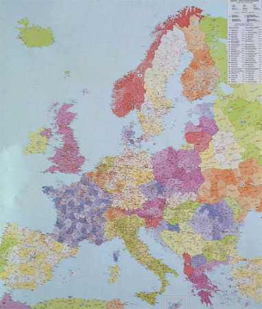Európa postai irányítószámos falitérkép - f&b