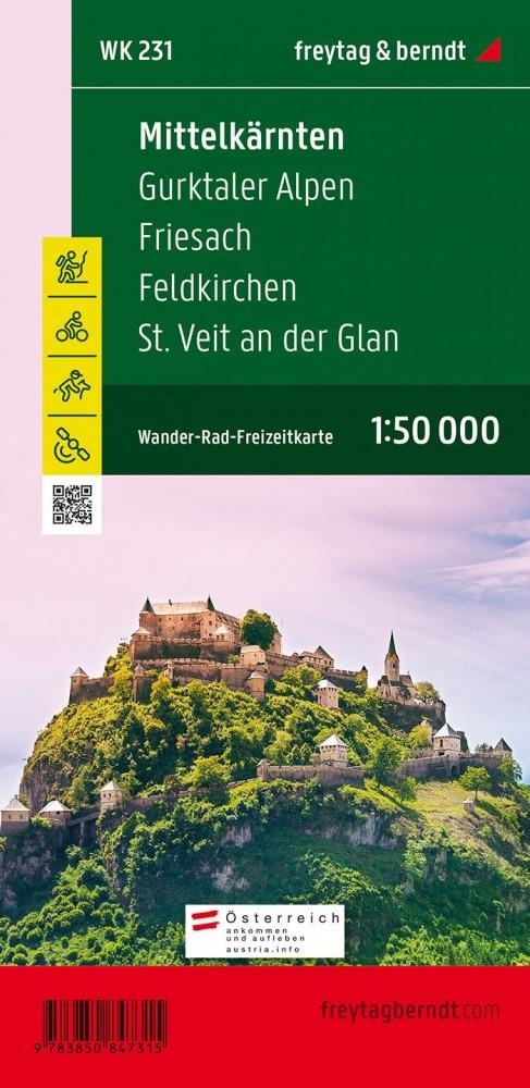 Mittelkärnten, Gurktaler Alpen, Friesach, Feldkirchen, St. Veit an der Glan turistatérkép - f&b WK 231