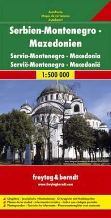 Szerbia - Montenegró - Macedónia autótérkép - f&b AK 7003