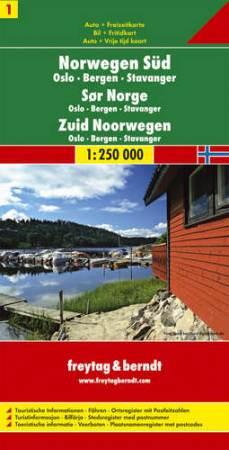 Dél-Norvégia: Oslo-Bergen-Stavanger (Norvégia 1) autótérkép - f&b AK 0655