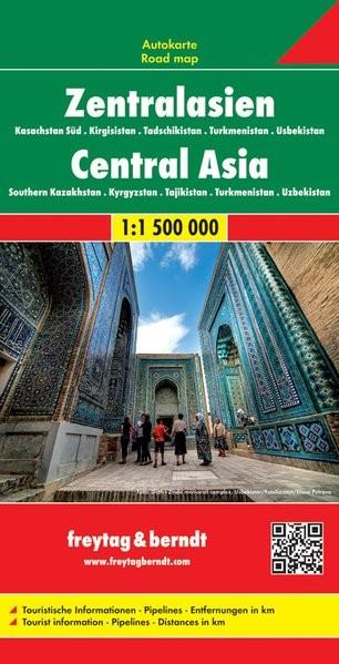 Közép-Ázsia: Dél-Kazahsztán - Tadzsikisztán - Kirgizisztán -Türkmenisztán - Üzbegisztán autótérkép - f&b AK 155